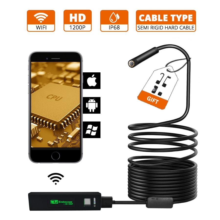 8MM WIFI Endoscope Camera HD 1200P Semi Rigid Hard Tube Borescope Snake Waterproof Inspection Camera For Android IOS Endoscope