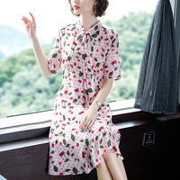 2019 New Women Summer Silk Print Dress Half Sleeve Bow A Line Dress