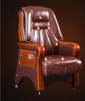 Real Leather Luxurious Reclining Chair Solid Wood Four Legged Computer Chair Fixed Armrest Leather Art Office