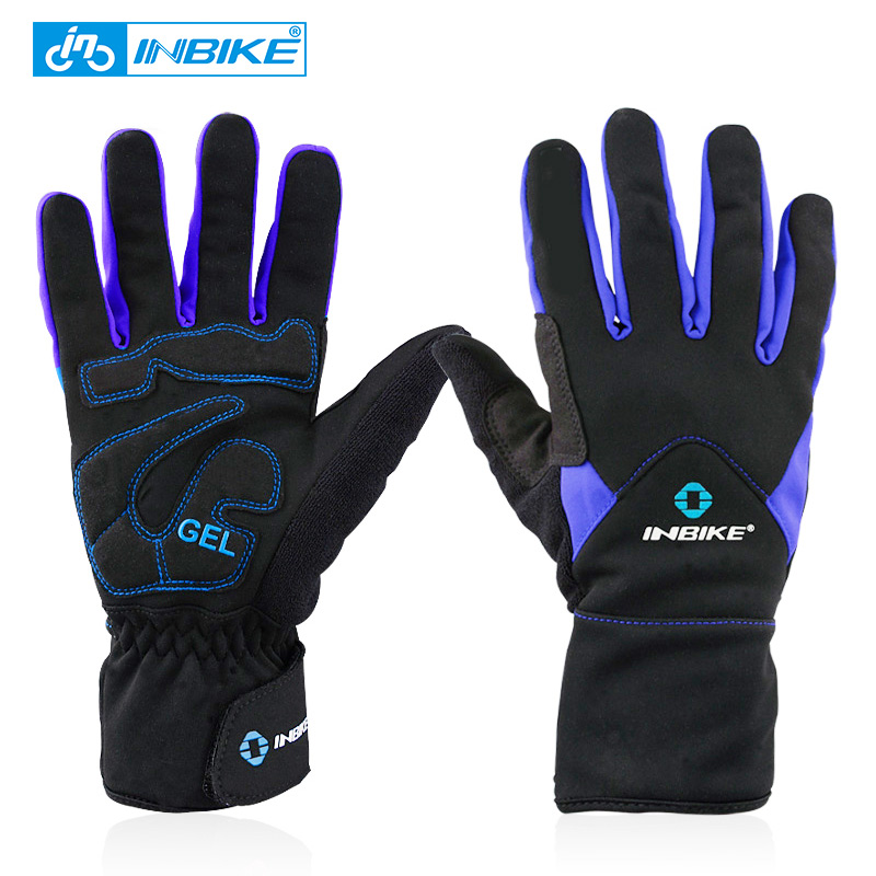 INBIKE Winter <font><b>Cycling</b></font> Gloves <font><b>Full</b></font> Finger Thermal Bike Bicycle Gloves Windstopper Mittens 2 Colors Outdoor Ski & Climbing IF966