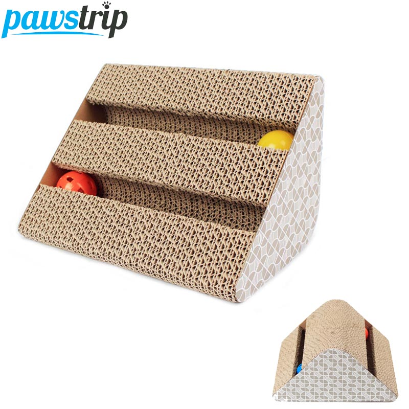 Pawstrip Funny Interactive Cat Toys With Bell Ball Corrugated Cardboard Cat Scratcher Board Toys (Catnip Free Gift)