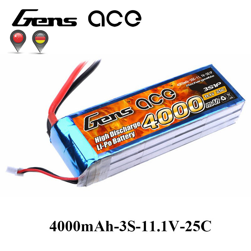 Gens ace <font><b>Lipo</b></font> <font><b>3S</b></font> Battery 11.1V 4000mAh <font><b>Lipo</b></font> Battery Pack 25C Deans Connector for RC Helicopter Car FPV Drone Boat Quadcopter image