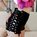 MOONIGHT Женщины мода sexy высокой талией вспышки блестки джаз шорты клуб бар шнурок шорты блестки связать высокой талии шорты