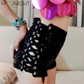MOONIGHT Women fashion sexy high waist flash sequins jazz shorts  club bar drawstring shorts sequins bind high waist shorts