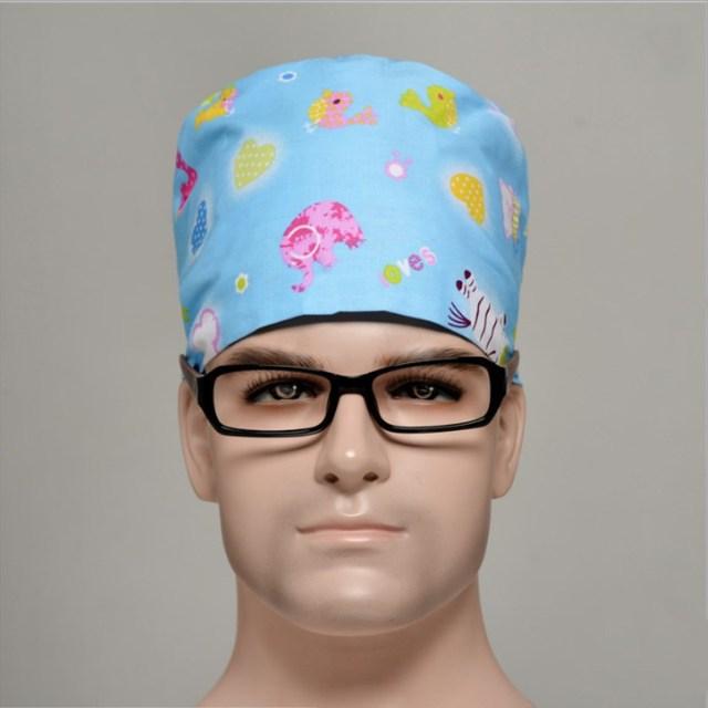 5 pcs 9 colors Food Service Working Beauty Caps Men Medical Surgical Surgery Hat Nurses Printing nurse Caps Doctor round Hats