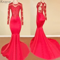 Long Red Prom Dresses 2018 Sheer Long Sleeve Top Lace Floor Length African Mermaid Prom Dress