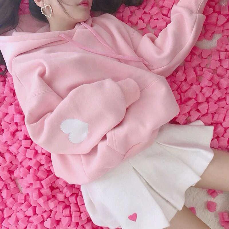 2019 카와이 스위트 러브 후드 티셔츠 여성 자수 핑크 후드 귀여운 루스 롱 슬리브 트랙 슈트 풀오버 moletom girls