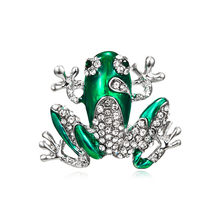 Rhinestone Green Frog Brooch Unisex Cute Animal Brooch Pin Women Men Dress Coat Accessories High Quality Ornament(China)