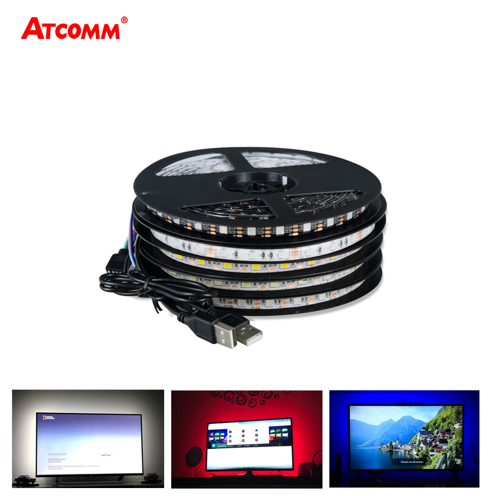 5V USB 5050 RGB LED Strip Light 60 LEDs/Meter 0.5M 1M 2M 3M 4M 5M LED Diode Tape Light Ribbon Lamp With 24 Key Remote Controller 1m 2m 5m 30cm 4 pin rgb led connector extension cable cord wire with 4pin connector for rgb led strip light free shipping