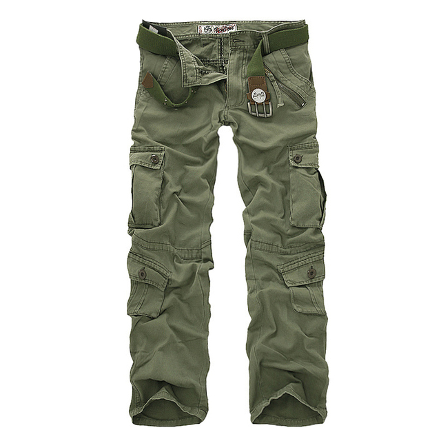 mens cargo pants - cotton Multi pockets - Men's light Trousers - military pants - men's wear- Cray H56cB