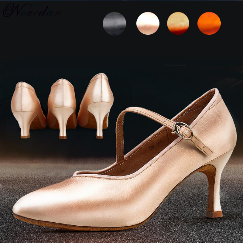 Women's Elegant Ballroom Party Modern Latin Dance Shoes Satin Prom Social Waltz Tango Dancing Heels Closed Toe Salsa Shoes