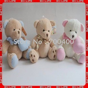 FREE SHIPPING 3 valentine style 8-inch cute bear with heart and tie, teddy bear, paw bear,stuffed soft toy gifts