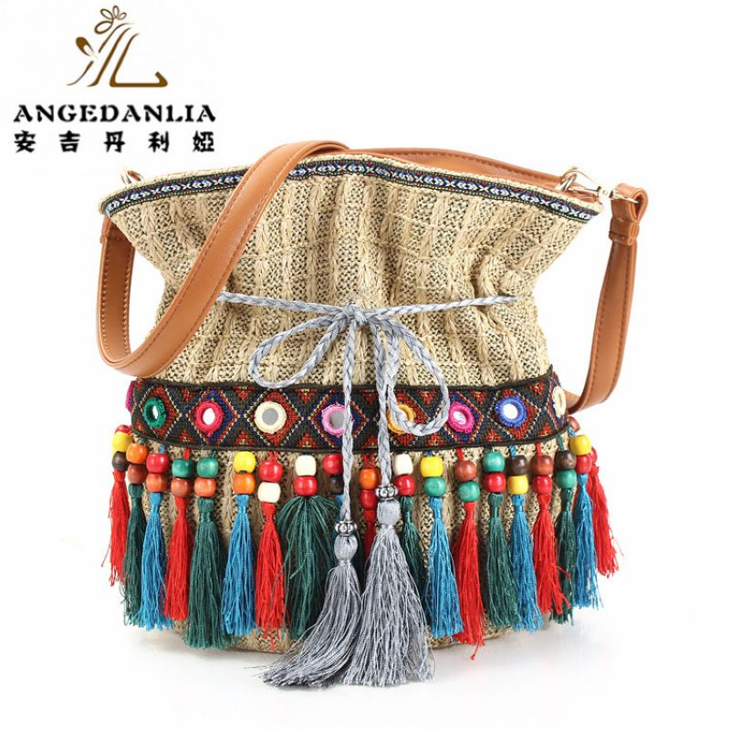 summer lady beach tassel straw bucket handbag Hippie Gypsy Women Tote Bags  BOHO Ethnic Bag shoulder Bag crossbody bags bolsos - Boho Gipsy Store 5006c6c0984c3