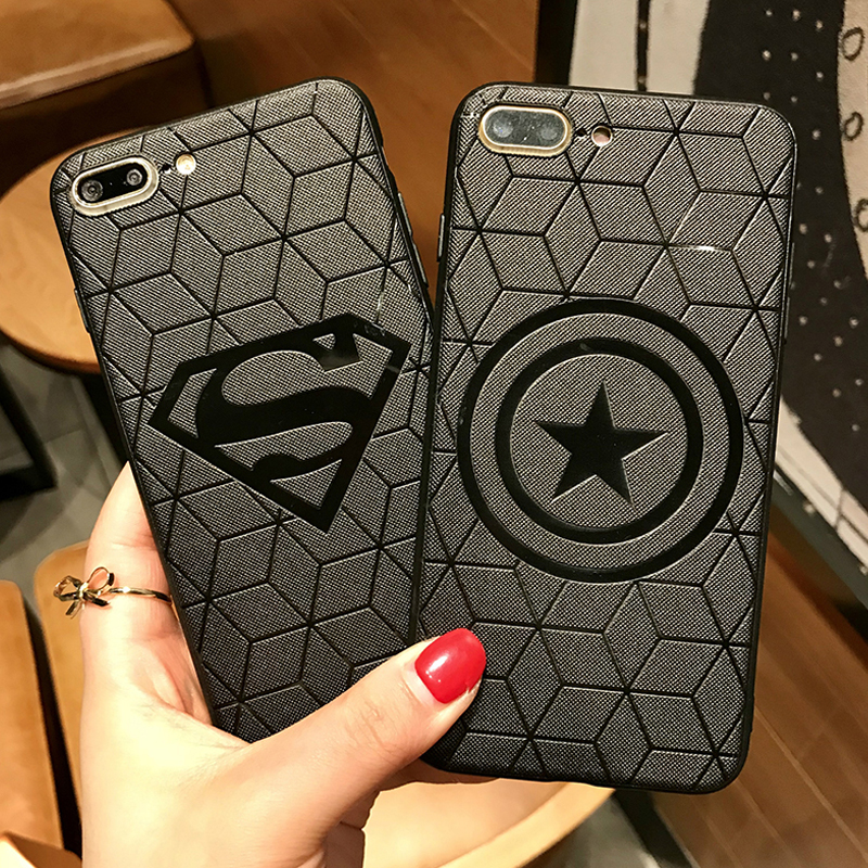 3D Emboss Marvel Avengers DC Comics Phone Cases for iPhone XS MAX XR X 10 6 6s 7 8 Plus funda Soft Silicon Cover Batman Ironman marvel glass iphone case