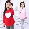 ЛЮБОВЬ Детская одежда Костюм Детская одежда Девушки С Длинным Рукавом О-Образным Вырезом Красный Розовый Сердце Мода Хлопок Девушки одежда наборы Для 2-7Y