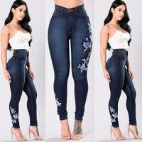 Señoras de las mujeres de Talle Alto Azul Floral Flaco Fit Jeans Stretch Denim Jegging Tamaño 6-16 de Cuerpo Entero Pantalones Lápiz pantalones vaqueros