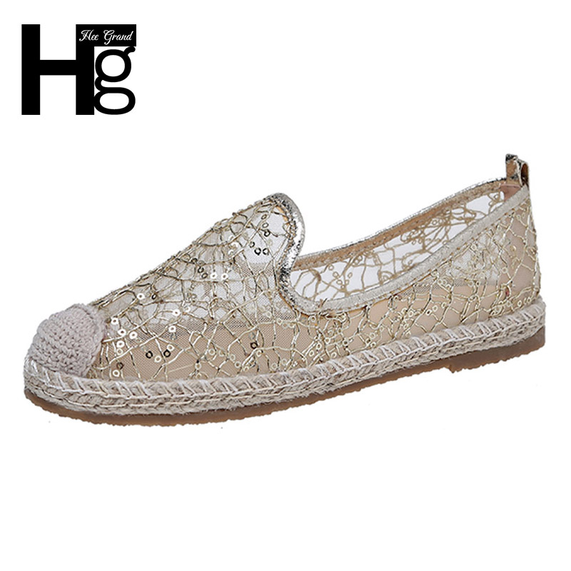 HEE GRAND 2017 Glitters Loafers Slip On Platform Fisherman Shoes Woman Bling Mesh Flats Gold Silver Casual Women Shoes XWD5765 hee grand 2017 creepers summer platform gladiator sandals casual shoes woman slip on flats fashion silver women shoes xwz4074