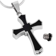 IJD8023 Black Enameled Cross Pendant Men Wholesale Stainless Steel Cremation Keepsake Memorial Urn Necklace Ashes Jewelry Male