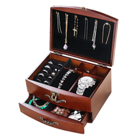 iTECHOR High Quality Pinewood Jewelry Box Ear Stud Earring Storage Case Makeup Storage Holder Suitcase 4 Color 20*15*11cm
