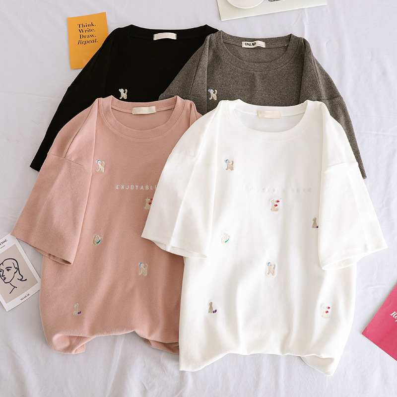 T     Shirts   Summer Women 2019 New Fashion Embroidered Short Sleeved Loose Casual Student Top Tees Women's   Shirts   Female Clothes