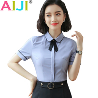 2018 Summer Spring Slim Elegant Blouse Women Chiffon Shirt Elegant Solid Color Short Sleeve Women Tops