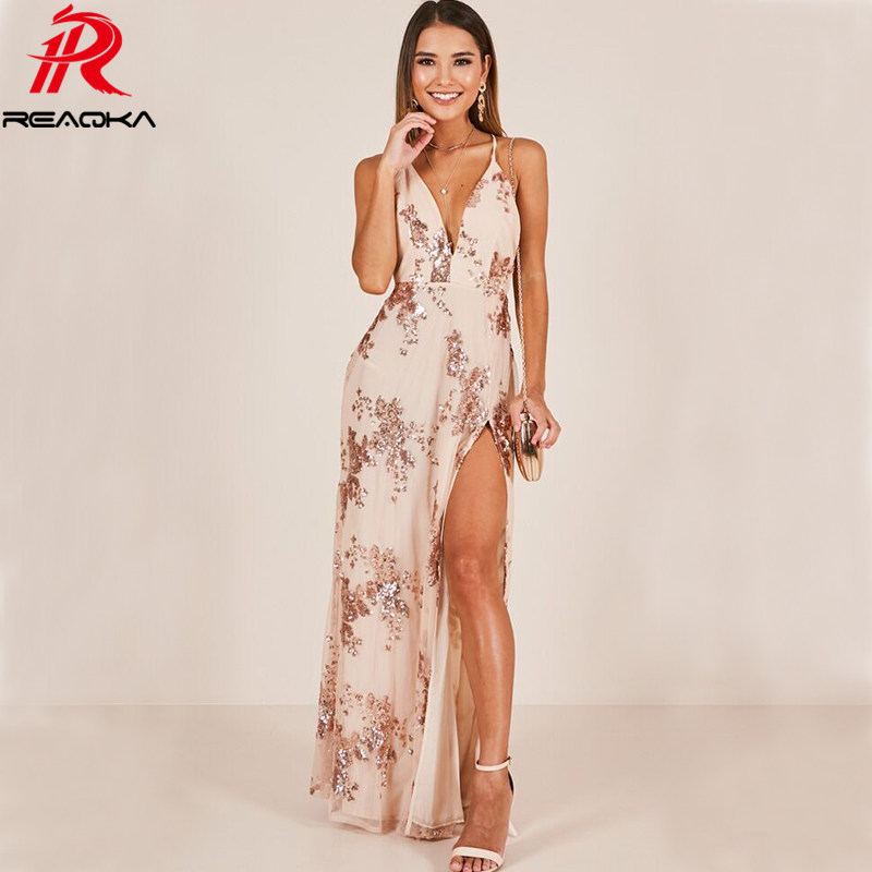 7004b582d Sexy women V Neck gold Sequins Summer Dresses long Split Luxury Strap  nightclub bandage Backless Maxi