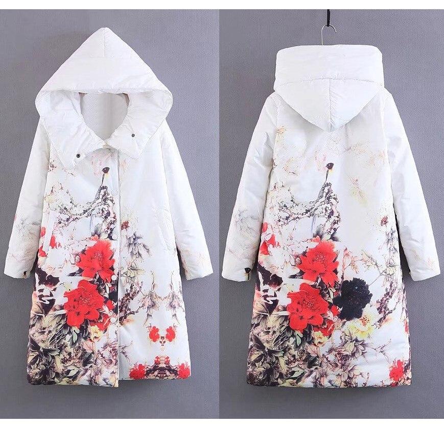blanc Décontracté Mince Épais Noir Long Hiver Parkas Pardessus Fleur Imprimer 2018 Chaud Mode Manteaux Femmes xCqa6nXfnw