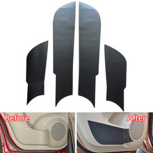 ФОТО sosung 4pcs carbon fiber car interior front+rear door side anti-kick protective film decal sticker for nissan x-trail 2014