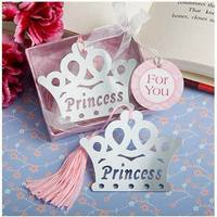 E Wholesale 35PC Crown Bookmarks With Tassel Metal Bookmark Stationery Party Decoration Birthday Gifts Wedding Gifts
