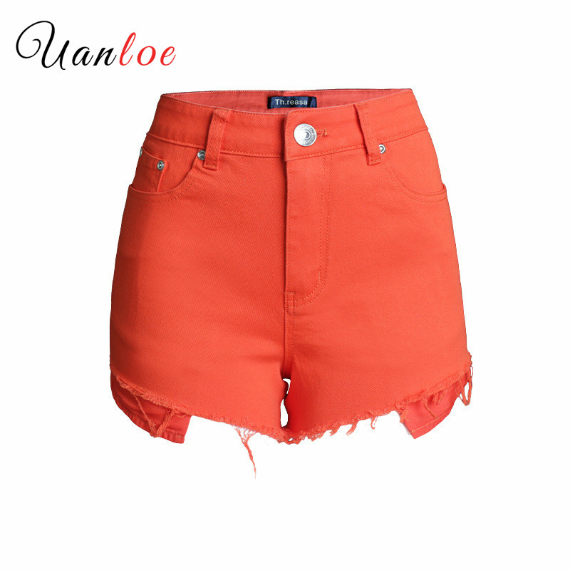 2019 High Waist Denim   Shorts   Women Fashion Candy Color Jeans Summer   Short   Jeans Blue/Green/Orange