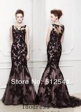 Wonderful Lace Sheer Evening Dresses 2014 Slim Mermaid Trumpet Scoop Neck Handmade Applique Satin yk8R117