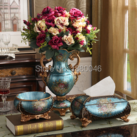 Large European vase three piece luxury decoration, creative home fruit tray, tissue box, ashtray ornaments.