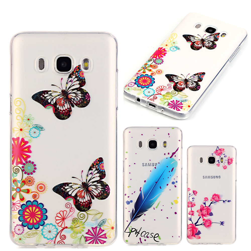 for coque samsung galaxy j5 2016 case butterfly feathers high transparency silicone cover for