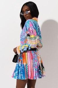 Image 2 - 2 peças conjunto sexy outono moda feminina conjunto 2021 feminino topos floral impressão manga longa camisa cintura elástica mini saias