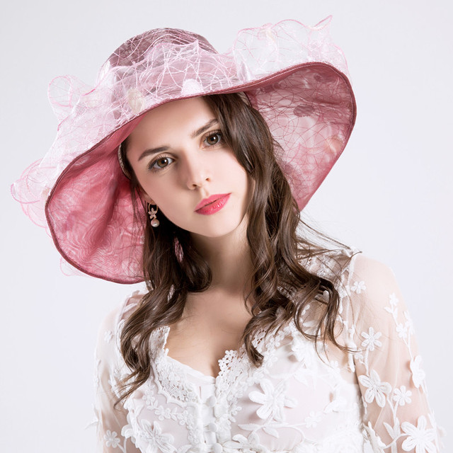 CRUOXIBB Summer Yarn Female Hat Dot Bow Design Hats For Women Casquette England Style Vintage UV Protection Beach Panama Hat