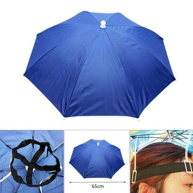 Foldable Umbrella Hat Fishing Hat Hiking Camping Beach Headwear Sun Cap Head Hats Outdoor Sport Fishing Tackle Accessory tool 3