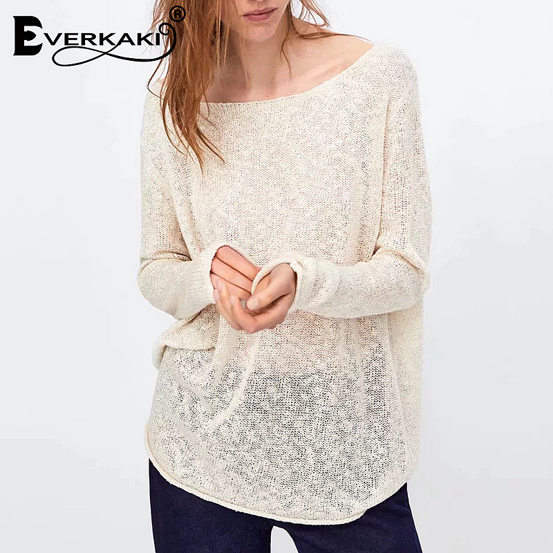 9e9480f4f2a7 Everkaki 2019 New Women Boho Solid Knitted Sweater Pullovers Tops V Neck  Bohemian Lady Sweaters Pullovers