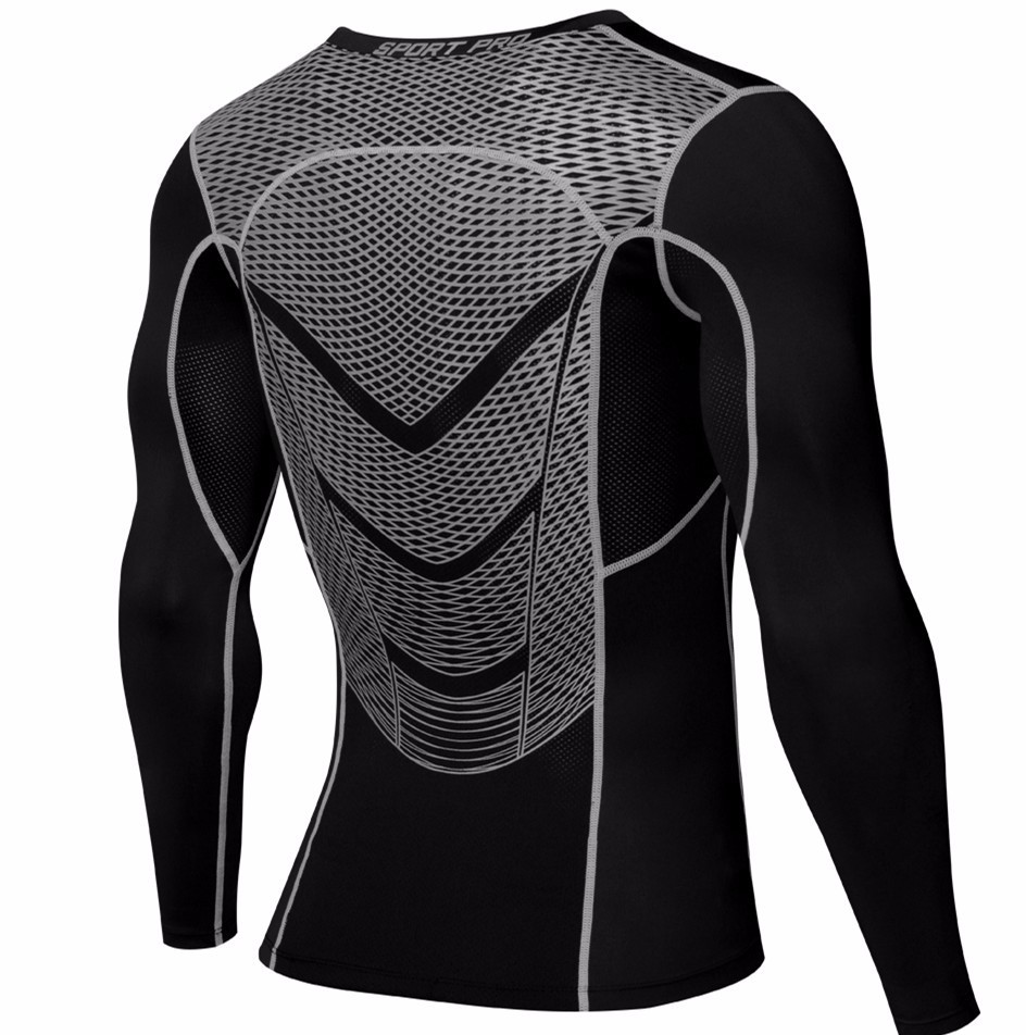 Foto from the back of t-shirt Men's compression t-shirt & pants for sport. 2 pieces Men's compression t-shirt & pants for sport