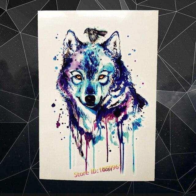 Aquarela Azul Lobo Desenhos Tatuagem Temporária Adesivos Para As Mulheres Homens Body Art Braço