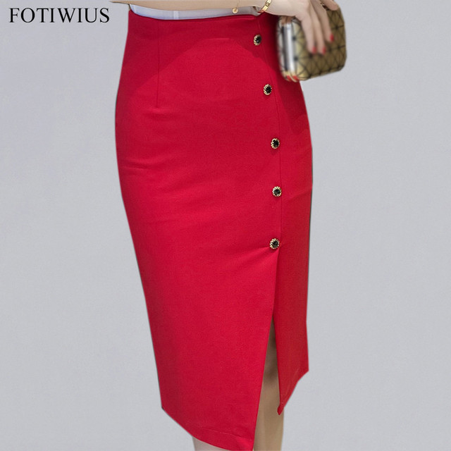 38398905f3c4d0 2018 Fashion Pencil Skirts Womens High Waist Midi Skirt Red Black Bodycon  Skirt Side Split Button