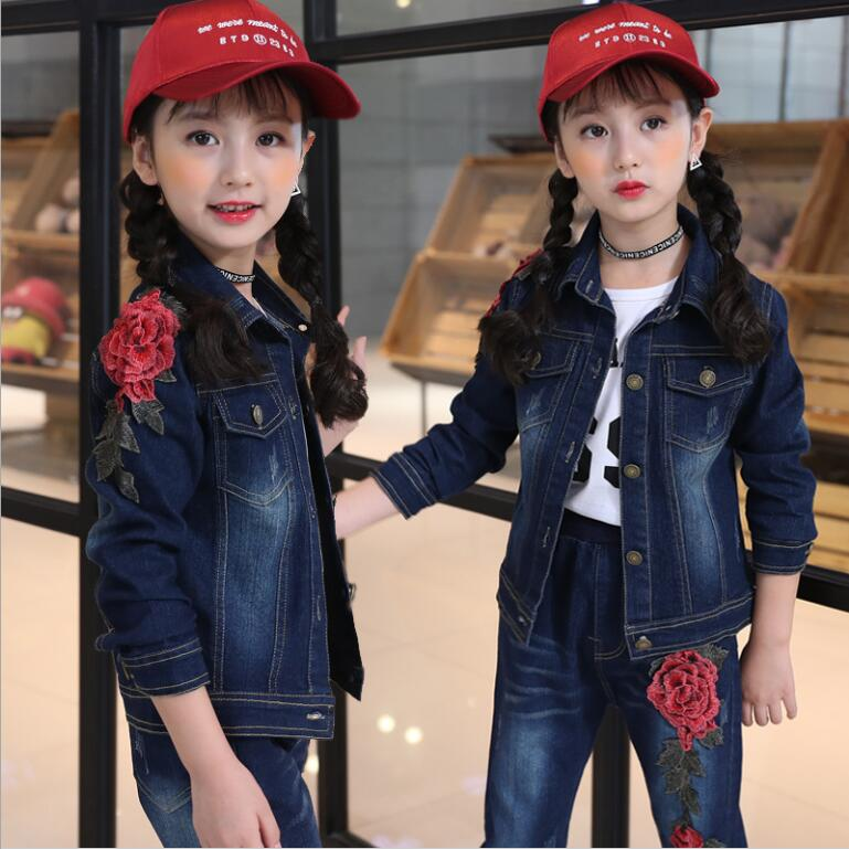 2018 Girl Denim Suit Spring Autumn Hot Children Suit Girls Cotton Rose embroidery Denim Jacket +T-shirt+pants 3pcs set 4-13years free shipping children clothing spring girl three dimensional embroidery 100% cotton suit long sleeve t shirt pants