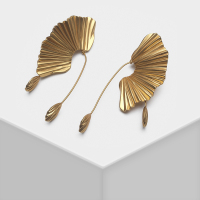 Sector design retro exaggerated metal drop earrings