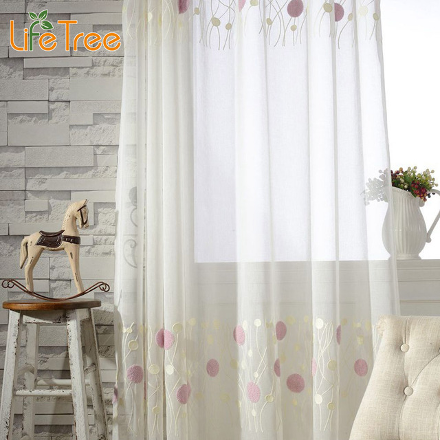 Plants Embroidered Window Tulle For Living Room Elegant Pink Cream Pattern Bedroom Curtain Custom Made