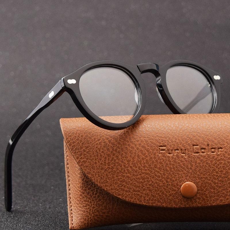 Top Quality Round Retro Acetate Frame Optical Eyeglasses Frame Clear Lens Glasses Frame Women Men Myopia Spectacles Prescription