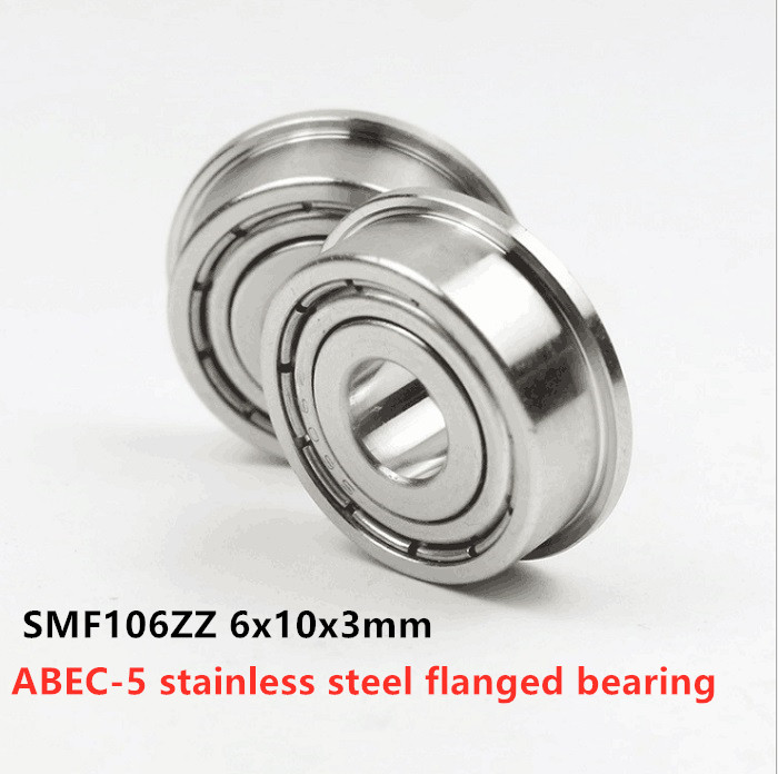 50pcs ABEC-5 Stainless Steel Flanged Bearing SMF106ZZ 6x10x3 Miniature Flange Deep Groove Ball Bearings SMF106 -2Z 6*10*3 Mm