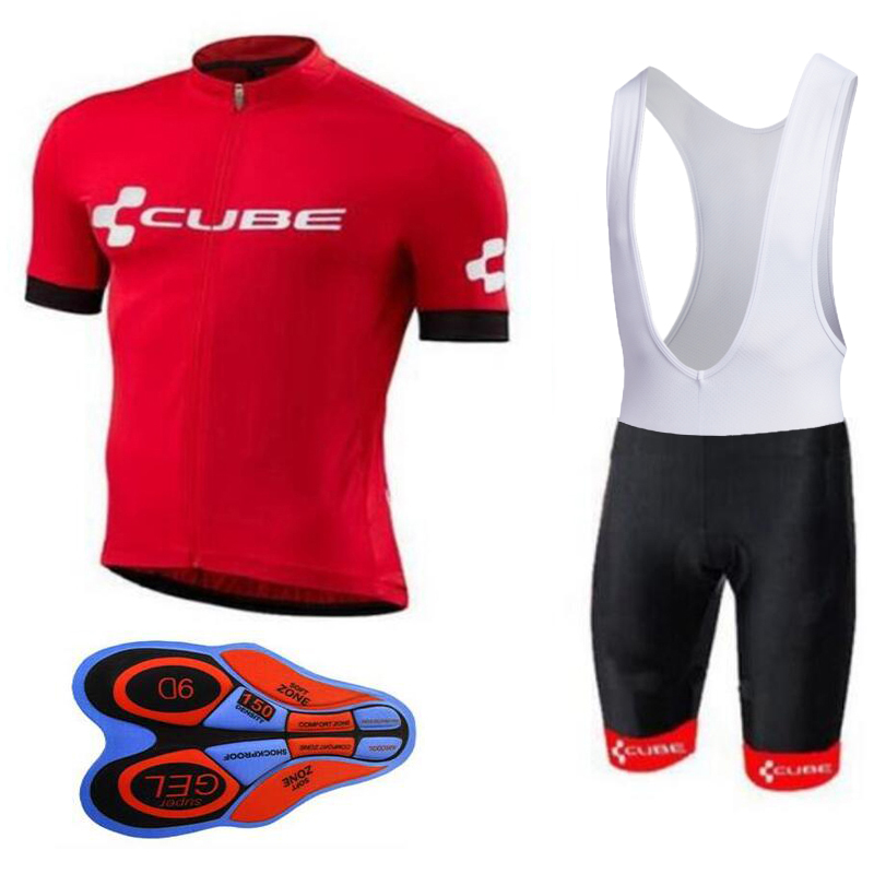 2018 Cube Summer Ropa Ciclismo Cycling Jersey and Bib Shorts Set Quick Dry 9D Gel Pad Mountain Bike Cycling Clothing For Men
