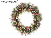 LTWHOME WHCMCGB 22 Inch Handmade Christmas Wreath with Pine Needles, Holly Leaves, Christmas Balls for Front Door, Wall