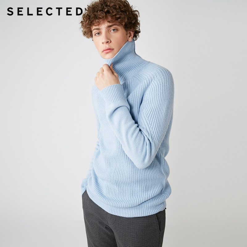 Image 3 - SELECTED High Neck Multiple Colors Knitted Pullovers Men's Wool blend Sweater  418425533-in Pullovers from Men's Clothing