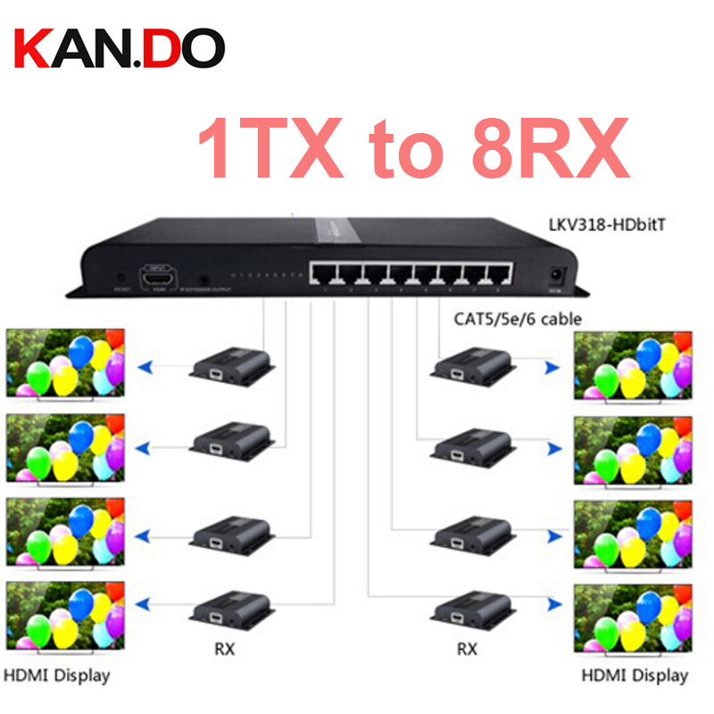 LKV31 Up To 120m Hdbit Sender 1x 8 Hdmi Extender Splitter Converter Over CAT6 With IR Remote Split One HDMI Source To 8 Out