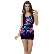 3D Print women's clothing tank top dress colorful skull straight sleeveless dress high quality rose strap dress Dropshipping
